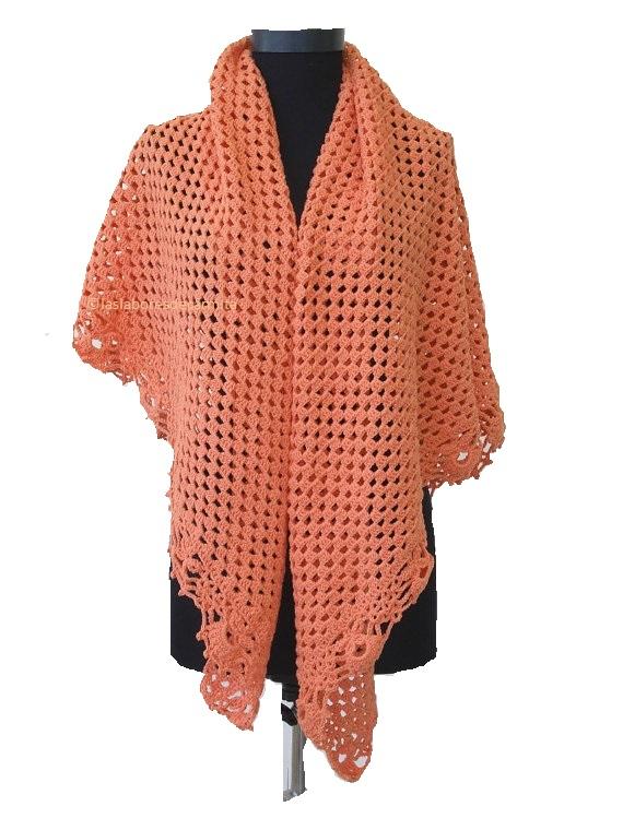 Chal Naranja Tejido Crochet – Enganchada al Ganchillo